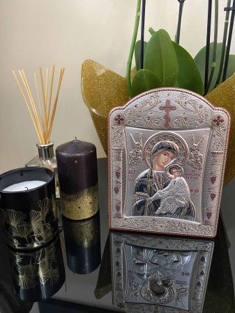 Icoana Fecioara Maria cu Pruncul  si Ingeri placata cu aur si argint -16 x 20 cm3
