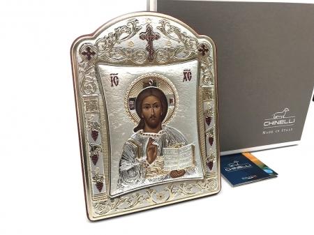 Icoana Iisus Hristos placata cu Aur si Argint by Chinelli - made in Italy