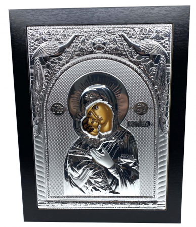 Icoana Maica Domnului si Pruncul Iisus placata cu Argint  - 40 x 30 cm [0]