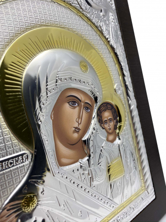 Icoana Maica Domnului si Pruncul Iisus Placata cu Argint si Aur1
