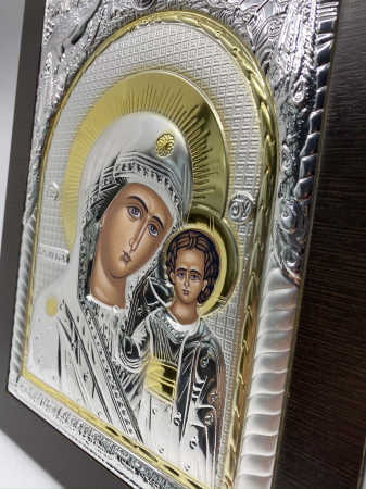Icoana Maica Domnului si Pruncul Iisus Placata cu Argint si Aur2