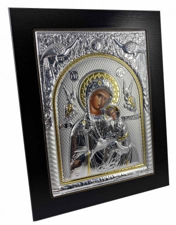 Icoana Maica Domnului si Pruncul Iisus placata cu Argint si Aur [1]