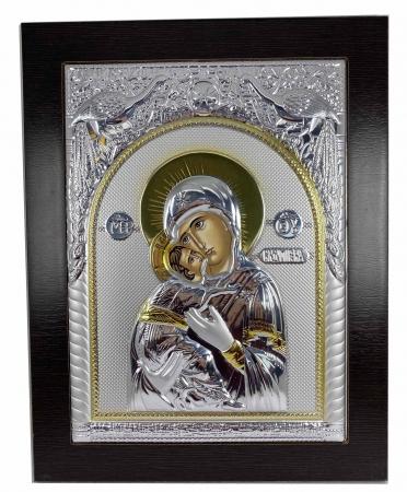Icoana Maica Domnului si Pruncul Iisus placata cu Argint si Aur - 31 cm [0]
