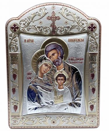Icoana Sagrada Famiglia placata Aur si Argint by Chinelli - made in Italy 21 x 26 cm0