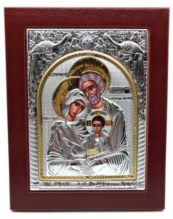Icoana Sfânta Familie placata cu Argint si Aur Galben