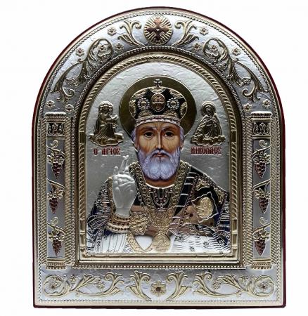 Icoana Sf. Nicolae placata cu aur si argint by Chinelli - Made in Italy 16 x 20 cm0