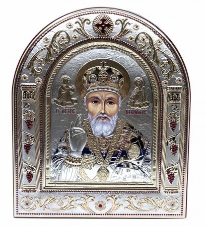 Icoana Sf. Nicolae placata cu aur si argint by Chinelli - Made in Italy 21 x 26 cm0