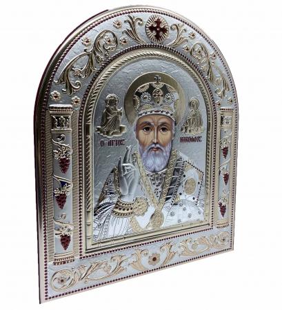 Icoana Sf. Nicolae placata cu aur si argint by Chinelli - Made in Italy 21 x 26 cm1