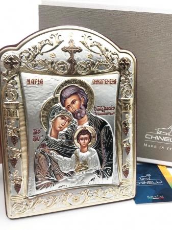 Icoana Sagrada Famiglia placata Aur si Argint by Chinelli - made in Italy 21 x 26 cm2
