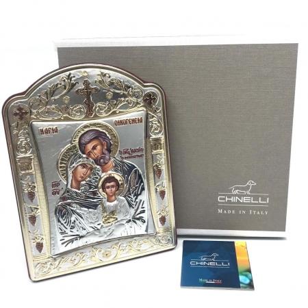 Icoana Sagrada Famiglia placata Aur si Argint by Chinelli - made in Italy