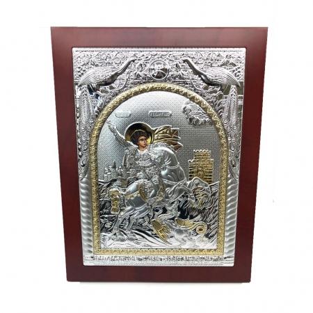 Icoana Sfantul Gheorghe placata cu Argint si Aur Galben0