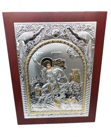 Icoana Sfantul Gheorghe placata cu Argint si Aur Galben1
