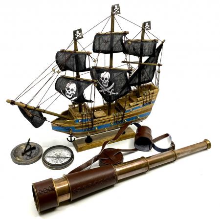 Pirates of the Seas: macheta corabie pirati, luneta functionala, busola + ceas solar functionale [0]