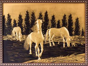 Tablou Equus Caballus in Gold by Credan - Made in Spain1