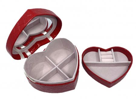 Perfect Lady Gift Set: Cutie Bijuterii Inima Rosie, Bratara Tennis Gold, Cercei Gold Heart [5]
