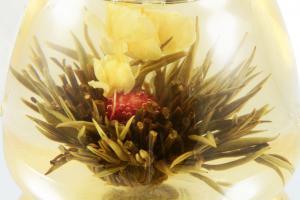 Ceai Floare Jasmine & Lilly Blooming flower cu ceainic sticla de lux0