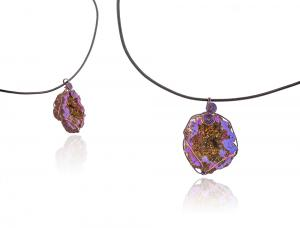 Colier Borealy Purple Fantasy - Geoda cu Pirita2