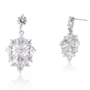 Cercei Borealy Argint 925 Crystal Clover Flower1