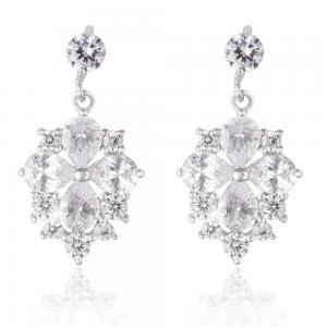 Cercei Borealy Argint 925 Crystal Clover Flower0