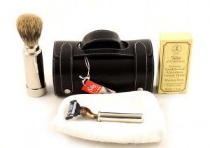 Set Barbierit Luxury Rasier in Lendertasche - Made in Germany0
