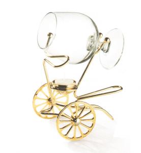 Încălzitor de cognac Chinelli Wheels placat cu aur - Made in Italy0