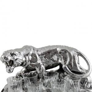 Indian Tiger Vodka Set Silver Plated by Chinelli - made in Italy4