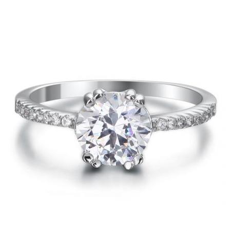 Inel Borealy Argint 925 ONE Zirconiu Simulated Diamond Solitaire Marimea 61