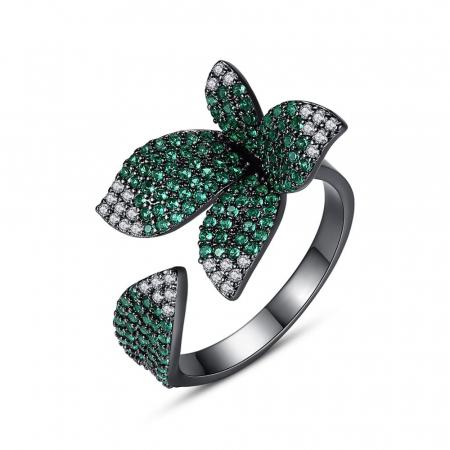 Inel Leaf Black Luxury1
