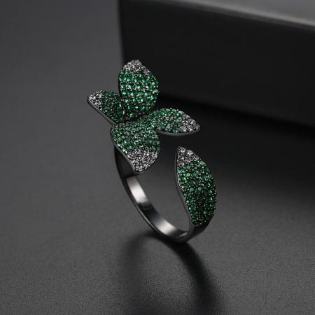 Inel Leaf Black Luxury2