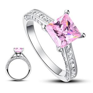 Inel Borealy Argint 925 Simulated Diamond 1.5 Carat Princess Cut Fancy Pink Mărimea 73