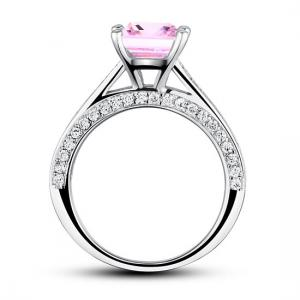 Inel Borealy Argint 925 Simulated Diamond 1.5 Carat Princess Cut Fancy Pink Mărimea 74