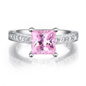 Inel Borealy Argint 925 Simulated Diamond 1.5 Carat Princess Cut Fancy Pink Mărimea 71