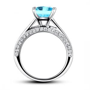 Inel Borealy Argint 925 Simulated Diamond 1.5 Carat Princess Cut Fancy Blue Mărimea 65