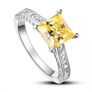 Inel 1.5 Carat Princess Cut Yellow Canary Simulated Diamond 925 Sterling Silver - Mărimea 6,5