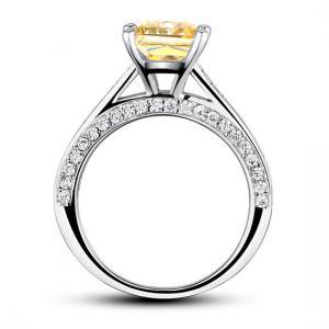 Inel 1.5 Carat Princess Cut Yellow Canary Simulated Diamond 925 Sterling Silver - Mărimea 6,54