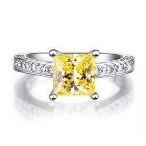 Inel 1.5 Carat Princess Cut Yellow Canary Simulated Diamond 925 Sterling Silver - Mărimea 6,51