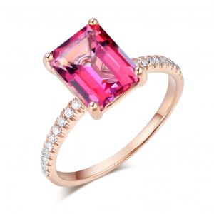 Inel Borealy Aur Roz 18K  2.8 Carate Pink Topaz 0.16 Carate Natural Diamonds