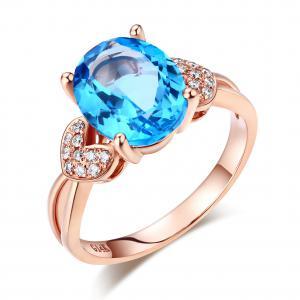Inel Borealy Aur Roz 18 K 3.5 Carate Swiss Blue Topaz & Diamante Naturale