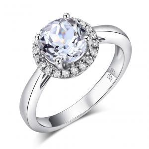 Inel Borealy Aur Alb 14K 1.2 CT Topaz 0.16 CT Natural Diamonds