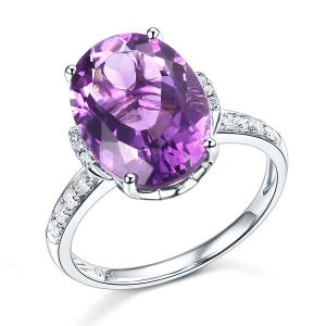 Inel Borealy Aur Alb 14K Diamante Naturale 5.75 Ct Oval Purple Ametist 0.22 Ct Luxury