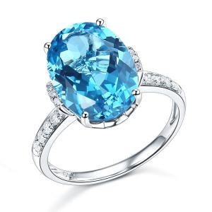 Inel Borealy Aur Alb 14K Luxury 6.5 Ct Oval Swiss Blue Topaz 0.22 Ct Diamante Naturale