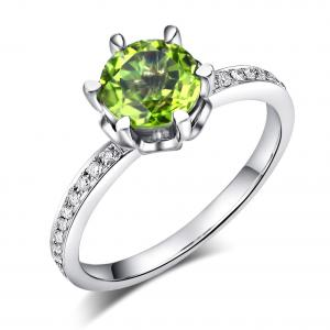 Inel Borealy Aur Alb 14K 1.4 Carate Peridot 0.14 Carate Diamant Natural