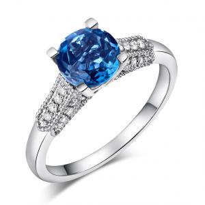 Inel Borealy Aur Alb 14 K 1.5 Ct Topaz & Diamante Naturale London