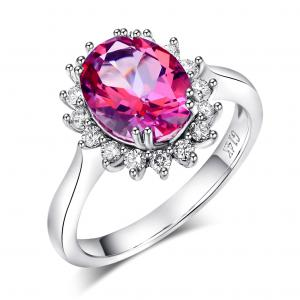 Inel Borealy Aur Alb 14K 2.8 Carate Pink Topaz 0.35 Carate Natural Diamond Logodna