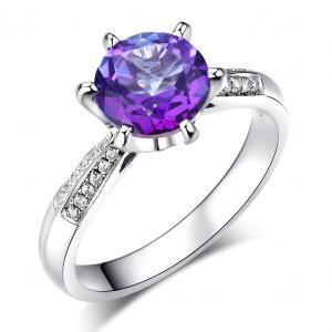 Inel Borealy Aur Alb 14K  2 Ct Purple Topaz 0.1 Ct Diamante Naturale