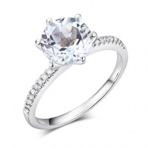Inel Borealy Aur Alb 14K Diamante Naturale 2 CT Topaz 0.12 CT Logodna
