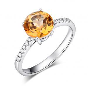 Inel Borealy Aur Alb 14K 2 Ct Yellow Topaz 0.12 Ct Diamante Naturale