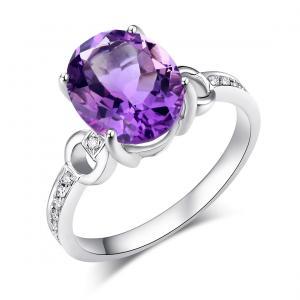 Inel Borealy Aur Alb 14K 3.5 Carate Ametist 0.097 Carate Diamant Natural