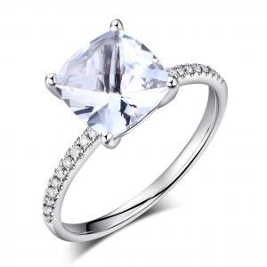 Inel Borealy Aur Alb 14K 2.5 Carate Topaz 0.12 Carate Diamante Naturale Logodna