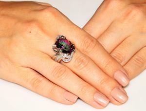 Inel Amazing Fire Rainbow Topaz Mistic 8 carate Argint 925 marimea 61